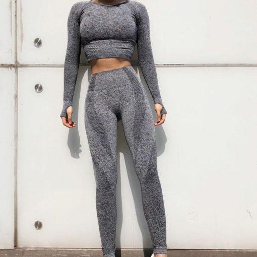 Ensemble Legging Sport Fitness Femme Gray set S Gray set M Gray set L