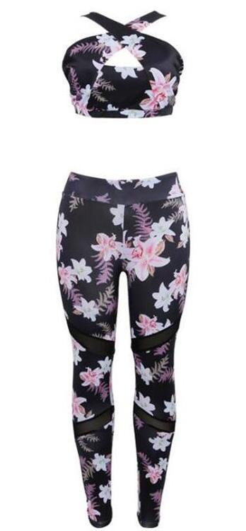 Legging Sport Floral bra and pants S bra and pants M bra and pants L bra and pants XL