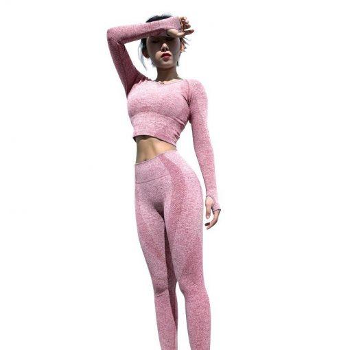 Ensemble Legging Sport Fitness Femme Pink set S Pink set M Pink set L