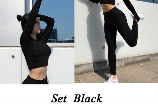 Ensemble Legging Sport Fitness Femme Black set S Black set M Black set L