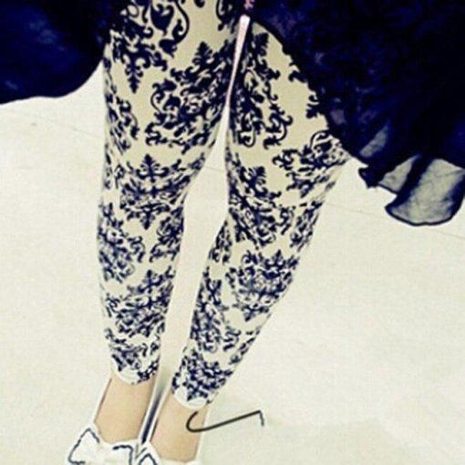 Legging Fleuri Femme White blue Taille Unique (extensible)