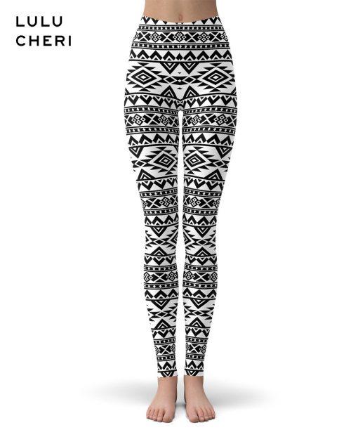 Legging Ethnique Blanc Aztec leggings S Aztec leggings XL