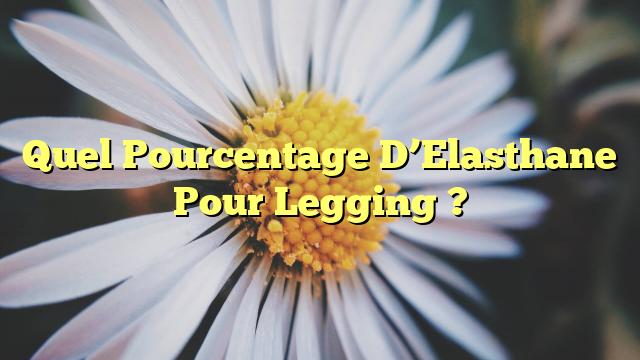 Quel Pourcentage D'Elasthane Pour Legging ?