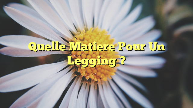 Quelle Matiere Pour Un Legging ?